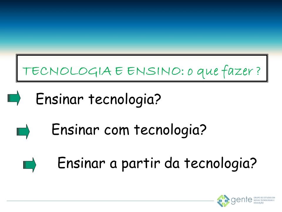 TECNOLOGIA E ENSINO: o que fazer