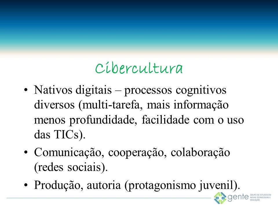 Cibercultura Nativos digitais – processos cognitivos diversos (multi-tarefa, mais informação menos profundidade, facilidade com o uso das TICs).