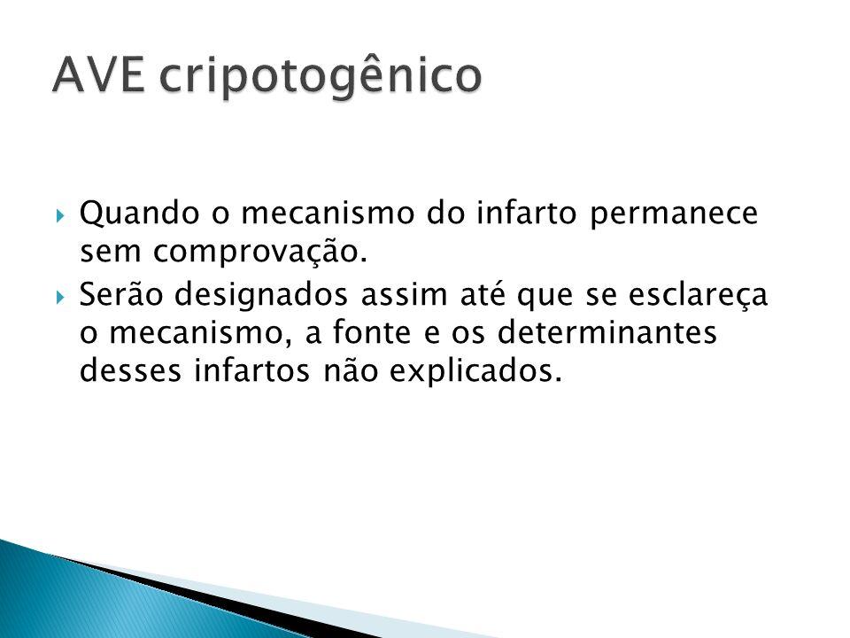 AVE cripotogênico Quando o mecanismo do infarto permanece sem comprovação.