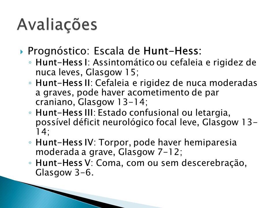 Avaliações Prognóstico: Escala de Hunt-Hess: