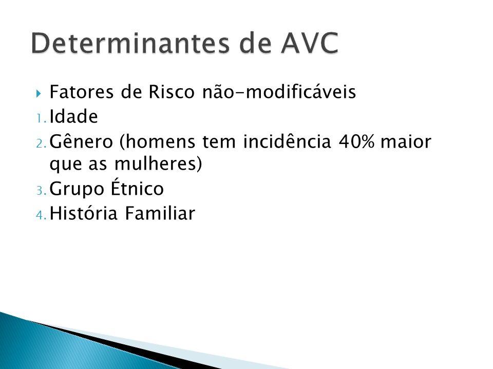 Determinantes de AVC Fatores de Risco não-modificáveis Idade