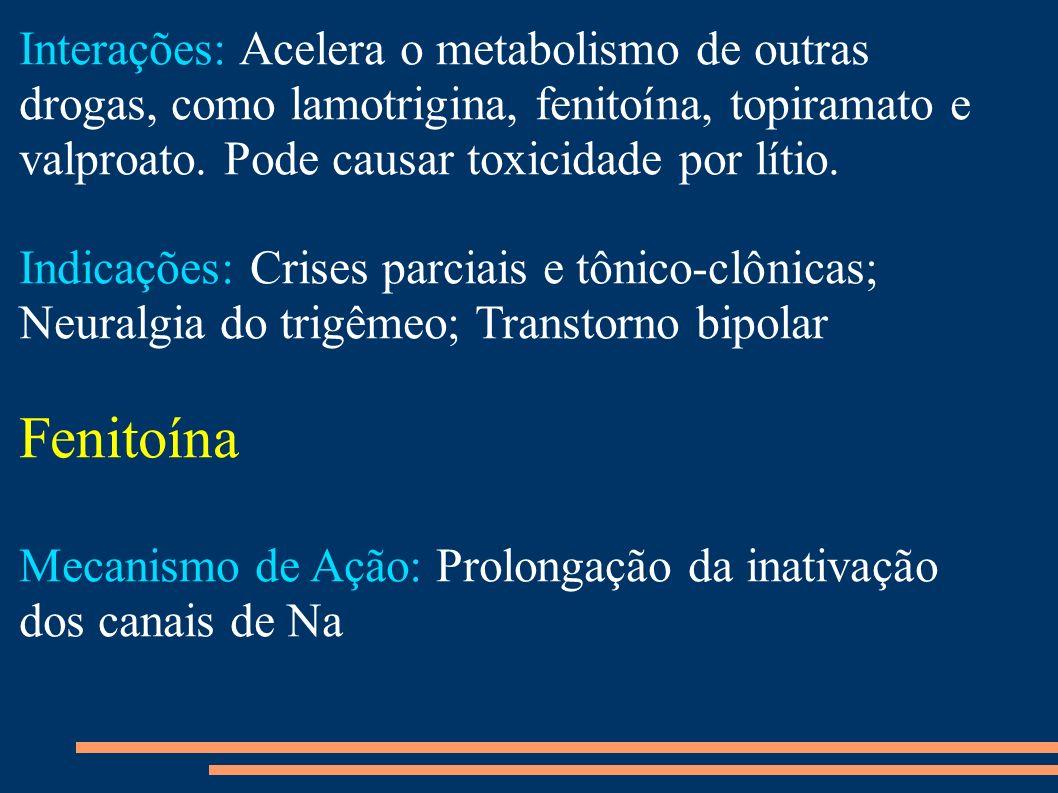 Interações: Acelera o metabolismo de outras drogas, como lamotrigina, fenitoína, topiramato e valproato. Pode causar toxicidade por lítio.