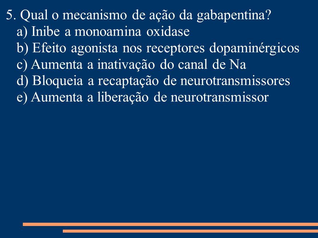 5. Qual o mecanismo de ação da gabapentina