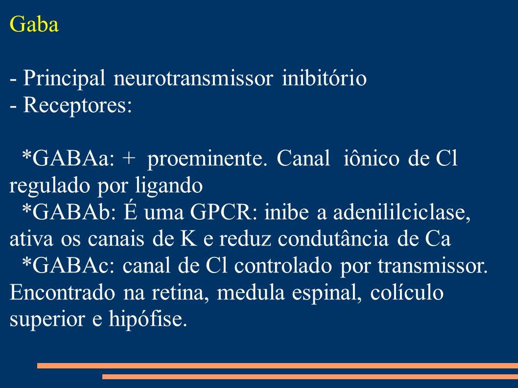 Gaba - Principal neurotransmissor inibitório. - Receptores: *GABAa: + proeminente. Canal iônico de Cl regulado por ligando.