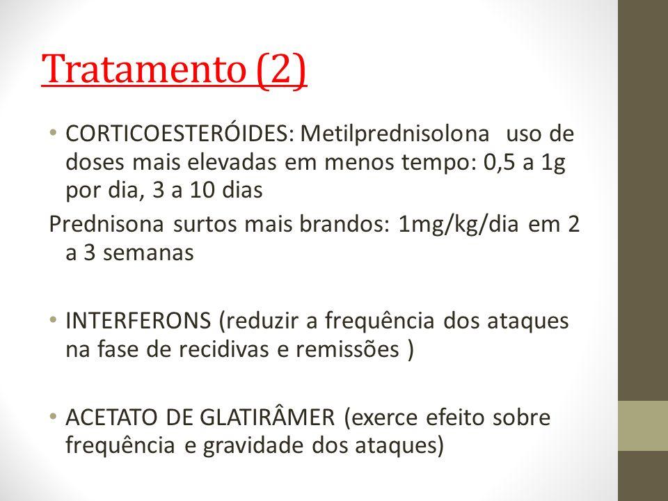 Tratamento (2)CORTICOESTERÓIDES: Metilprednisolona uso de doses mais elevadas em menos tempo: 0,5 a 1g por dia, 3 a 10 dias.