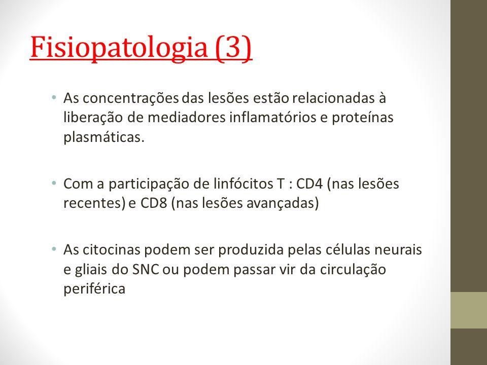 Fisiopatologia (3) As concentrações das lesões estão relacionadas à liberação de mediadores inflamatórios e proteínas plasmáticas.