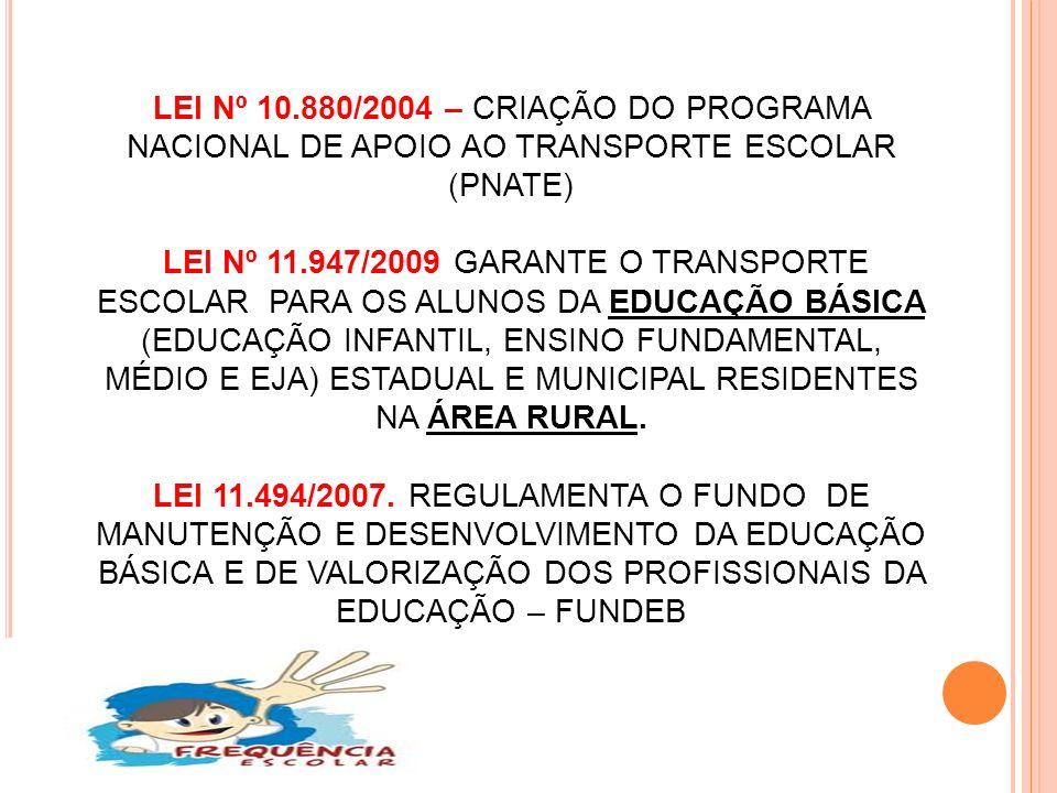 LEI Nº 10.880/2004 – CRIAÇÃO DO PROGRAMA NACIONAL DE APOIO AO TRANSPORTE ESCOLAR (PNATE) LEI Nº 11.947/2009 GARANTE O TRANSPORTE ESCOLAR PARA OS ALUNOS DA EDUCAÇÃO BÁSICA (EDUCAÇÃO INFANTIL, ENSINO FUNDAMENTAL, MÉDIO E EJA) ESTADUAL E MUNICIPAL RESIDENTES NA ÁREA RURAL.