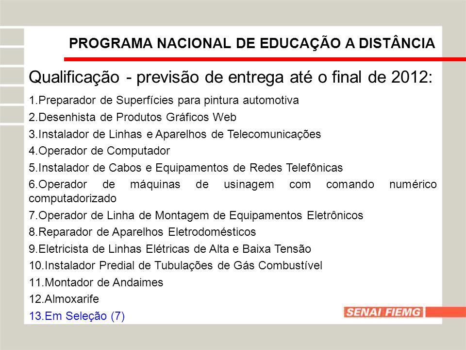 Qualificação - previsão de entrega até o final de 2012:
