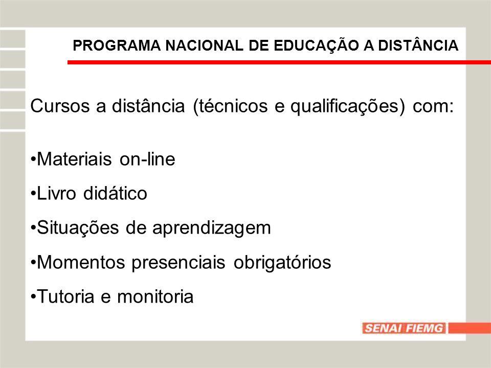 Cursos a distância (técnicos e qualificações) com: Materiais on-line