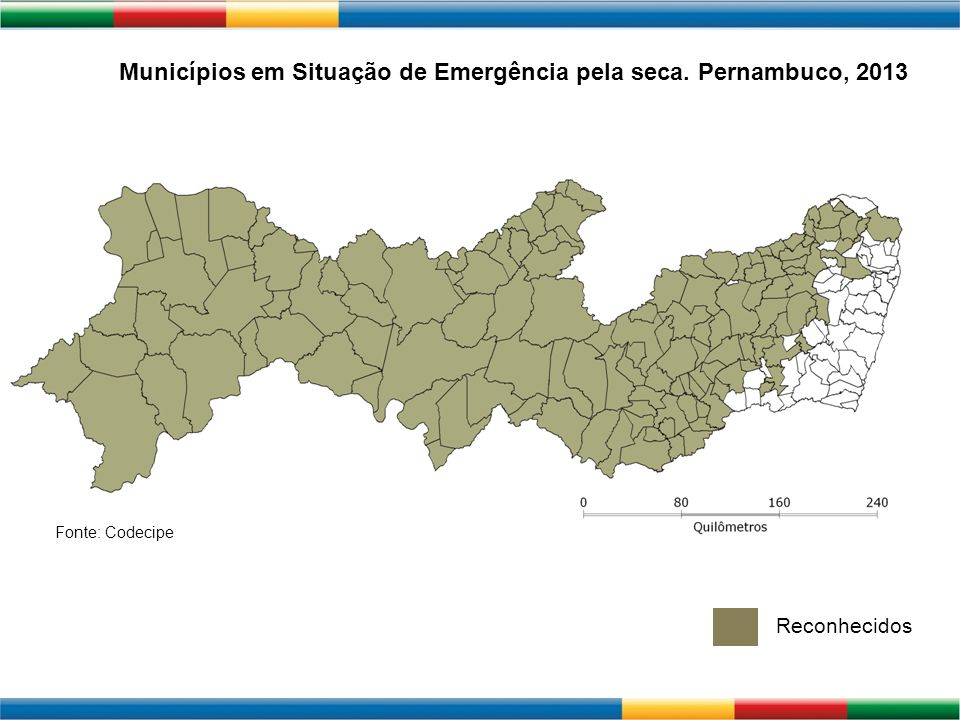Municípios em Situação de Emergência pela seca. Pernambuco, 2013