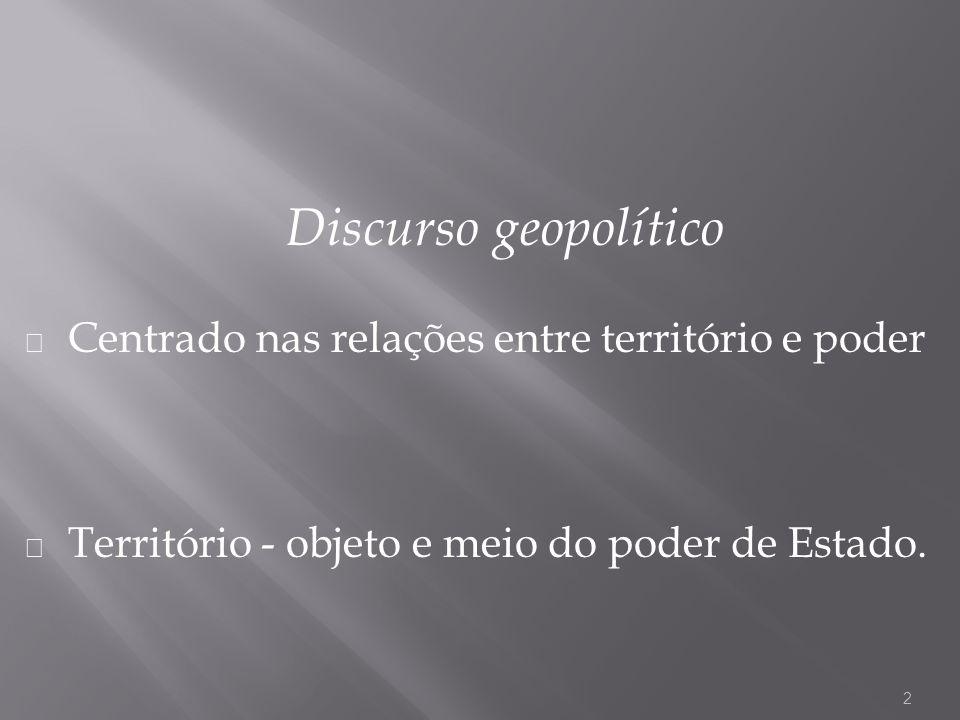 Discurso geopolítico Centrado nas relações entre território e poder