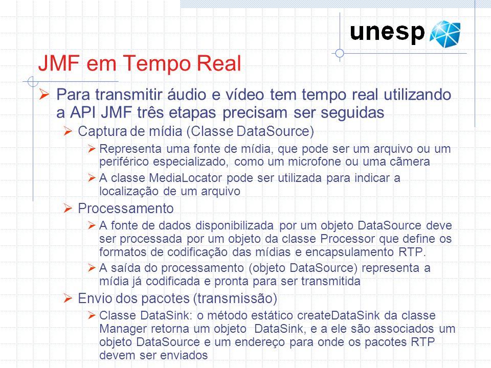JMF em Tempo Real Para transmitir áudio e vídeo tem tempo real utilizando a API JMF três etapas precisam ser seguidas.