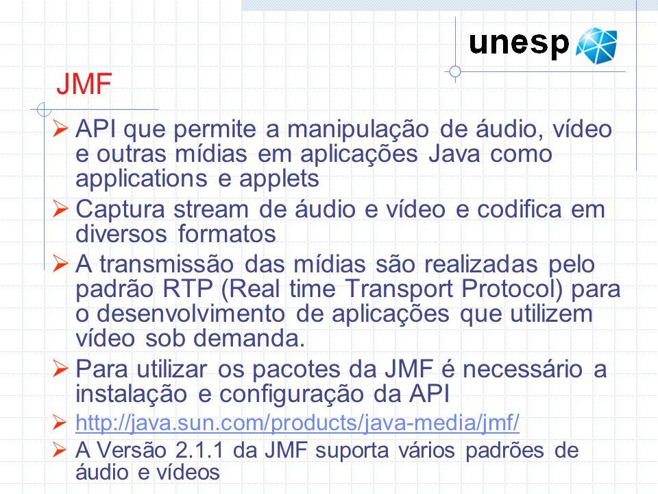 JMF API que permite a manipulação de áudio, vídeo e outras mídias em aplicações Java como applications e applets.