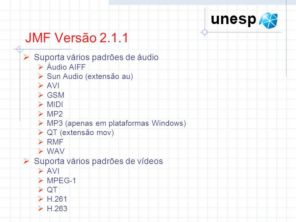 JMF Versão 2.1.1 Suporta vários padrões de áudio