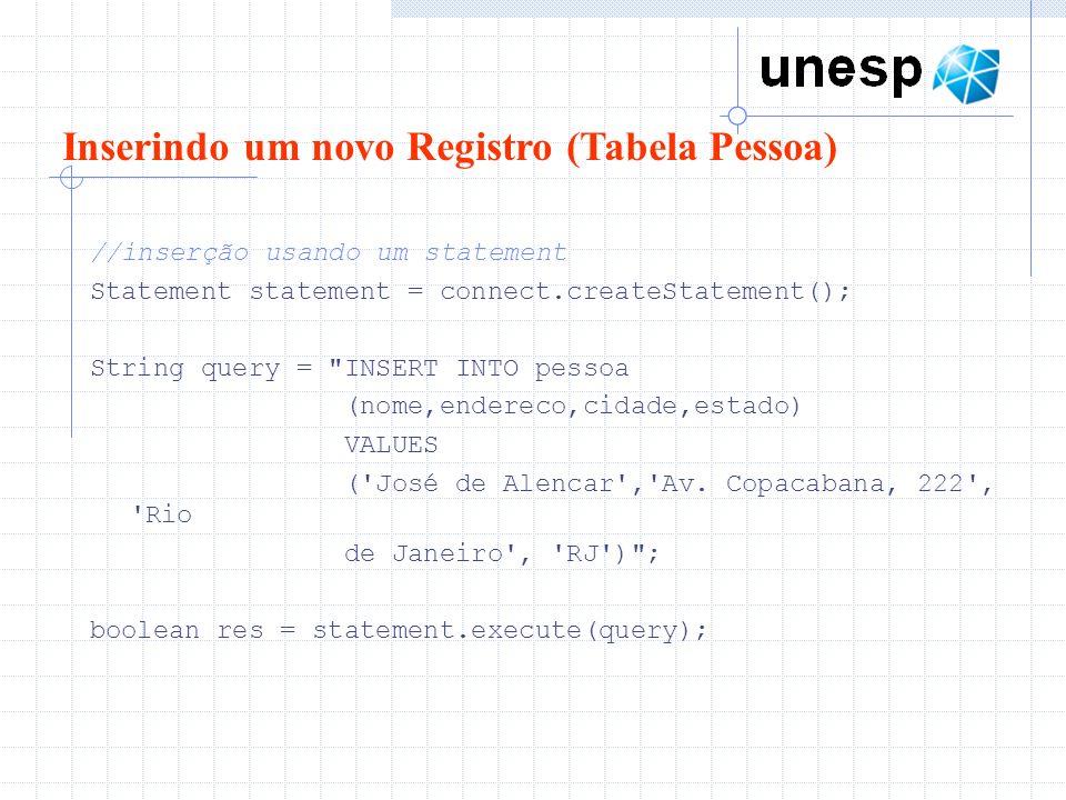 Inserindo um novo Registro (Tabela Pessoa)