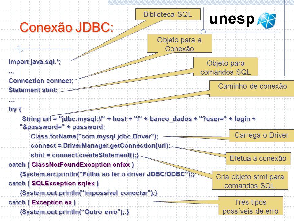 Conexão JDBC: Biblioteca SQL Objeto para a Conexão