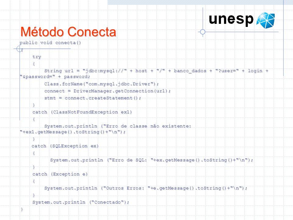 Método Conecta public void conecta() { try