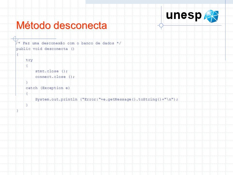 Método desconecta /* Faz uma desconexão com o banco de dados */