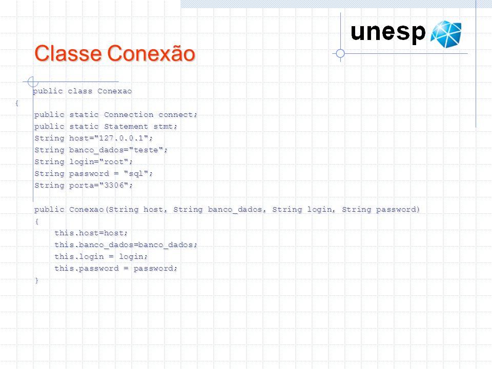 Classe Conexão public class Conexao {