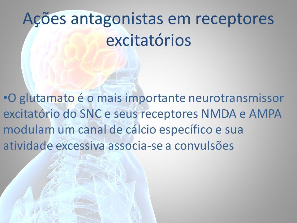 Ações antagonistas em receptores excitatórios