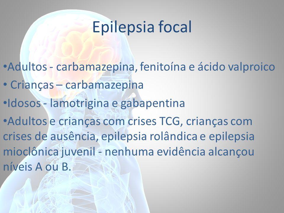Epilepsia focal Adultos - carbamazepina, fenitoína e ácido valproico