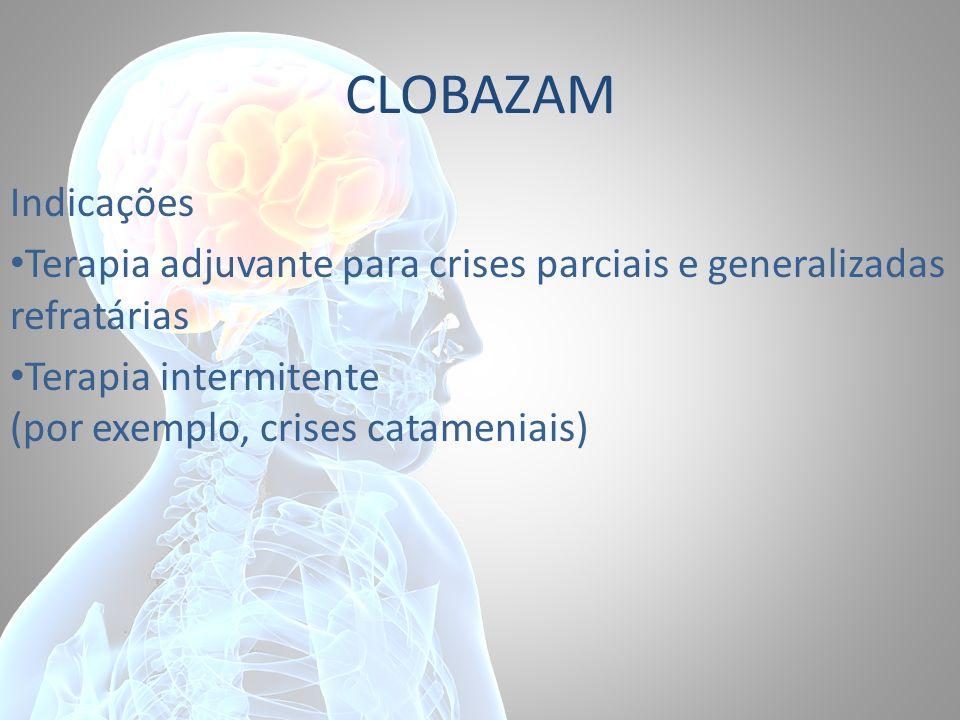 CLOBAZAM Indicações. Terapia adjuvante para crises parciais e generalizadas refratárias.