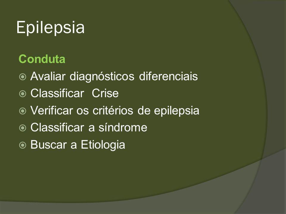 Epilepsia Conduta Avaliar diagnósticos diferenciais Classificar Crise
