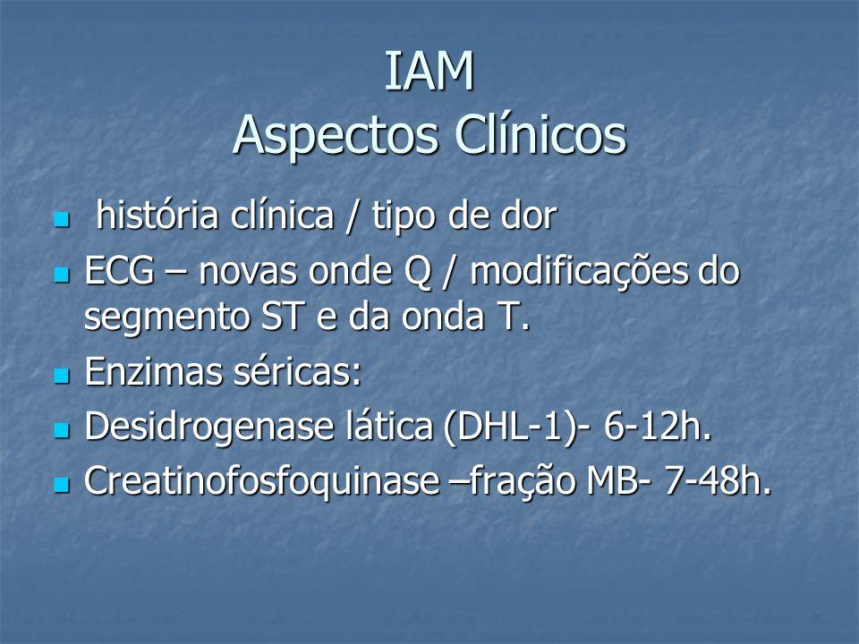 IAM Aspectos Clínicos história clínica / tipo de dor