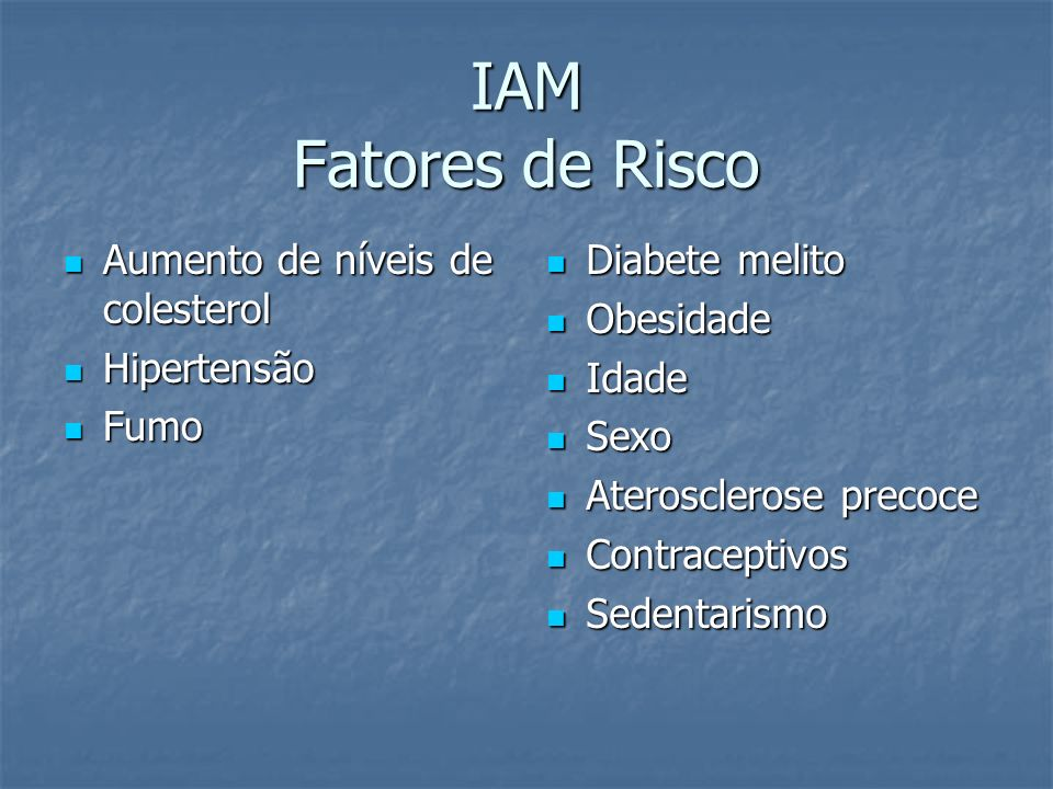 IAM Fatores de Risco Aumento de níveis de colesterol Hipertensão Fumo