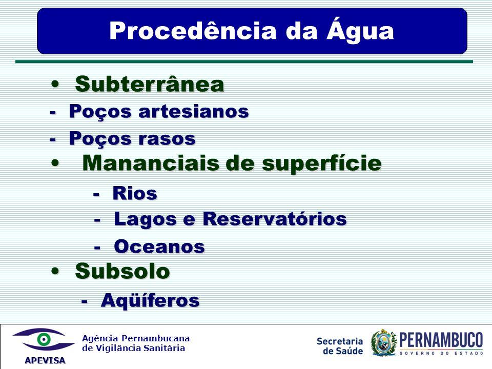 Procedência da Água Subterrânea Mananciais de superfície - Rios
