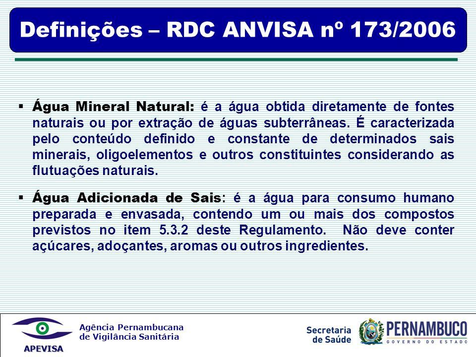 Definições – RDC ANVISA nº 173/2006