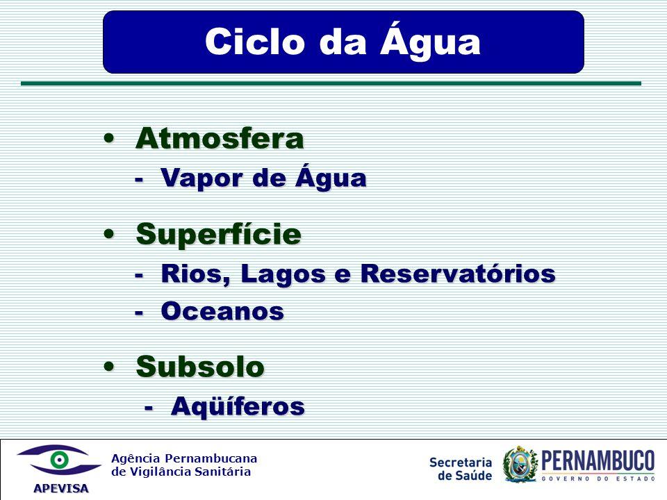 Ciclo da Água Atmosfera Superfície Subsolo - Vapor de Água