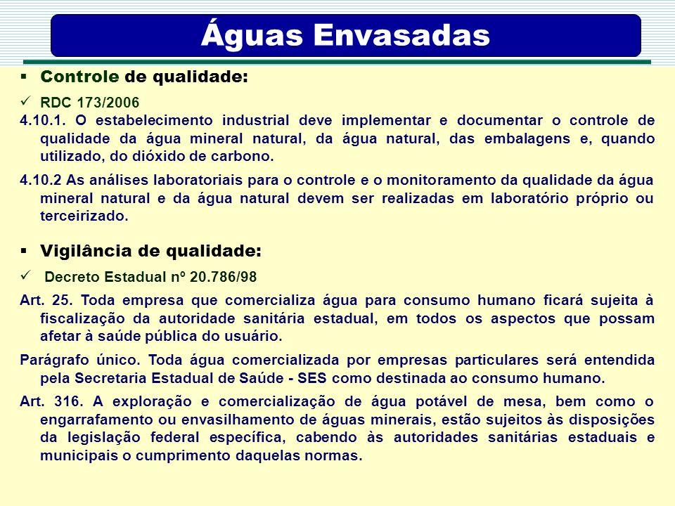 Águas Envasadas Controle de qualidade: Vigilância de qualidade: