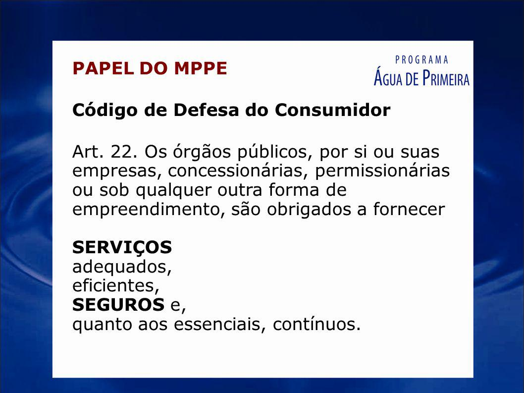 PAPEL DO MPPE Código de Defesa do Consumidor