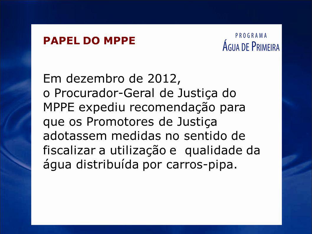 PAPEL DO MPPE Em dezembro de 2012,