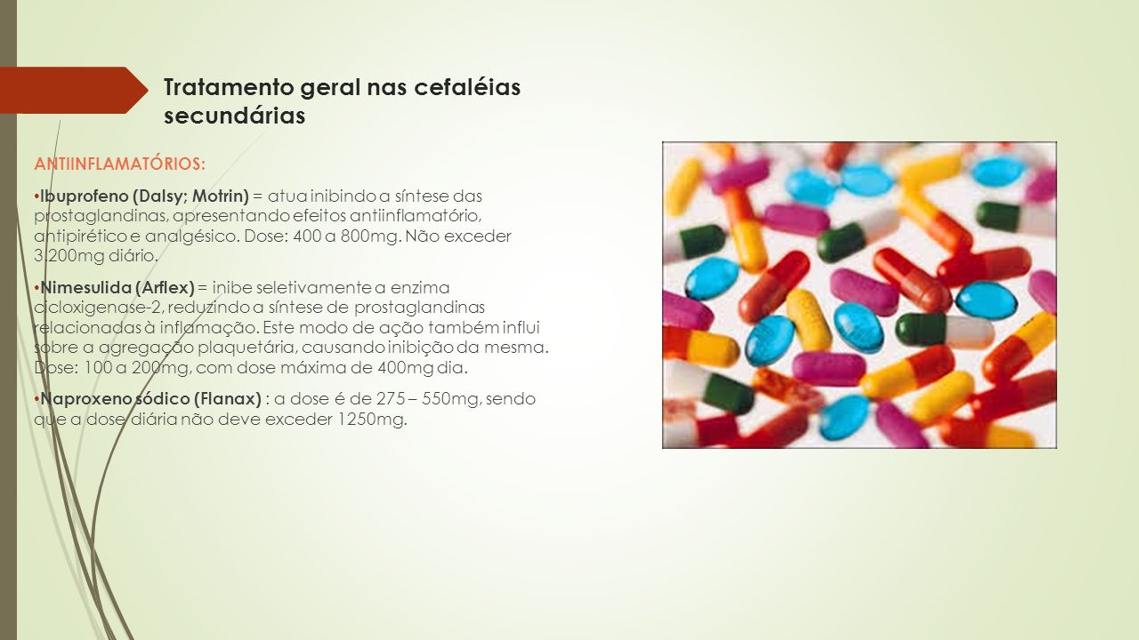 Tratamento geral nas cefaléias secundárias