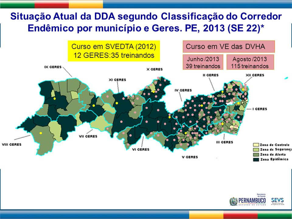 Situação Atual da DDA segundo Classificação do Corredor Endêmico por município e Geres. PE, 2013 (SE 22)*