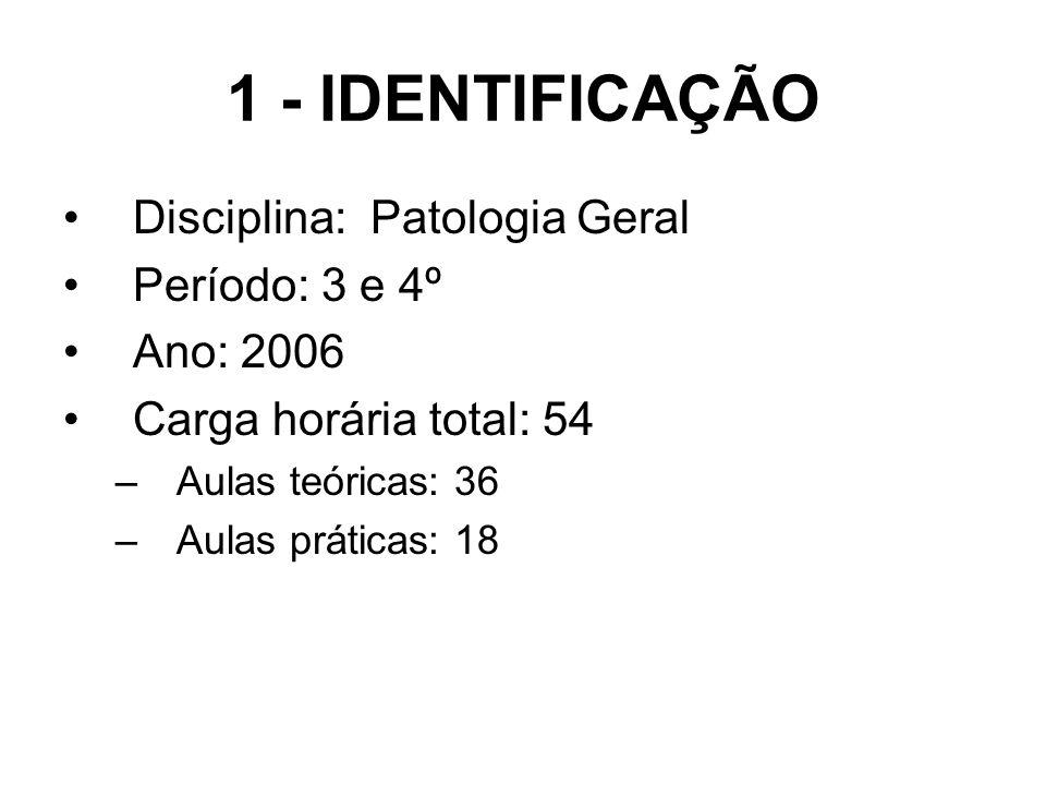 1 - IDENTIFICAÇÃO Disciplina: Patologia Geral Período: 3 e 4º