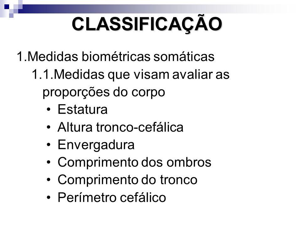 CLASSIFICAÇÃO Medidas biométricas somáticas