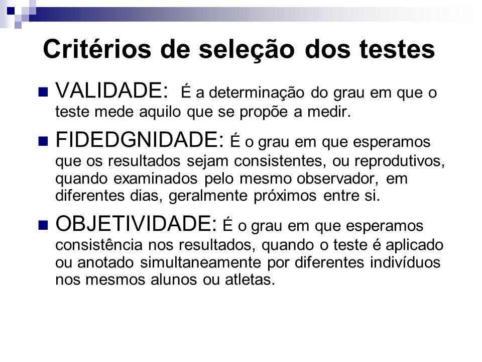 Critérios de seleção dos testes