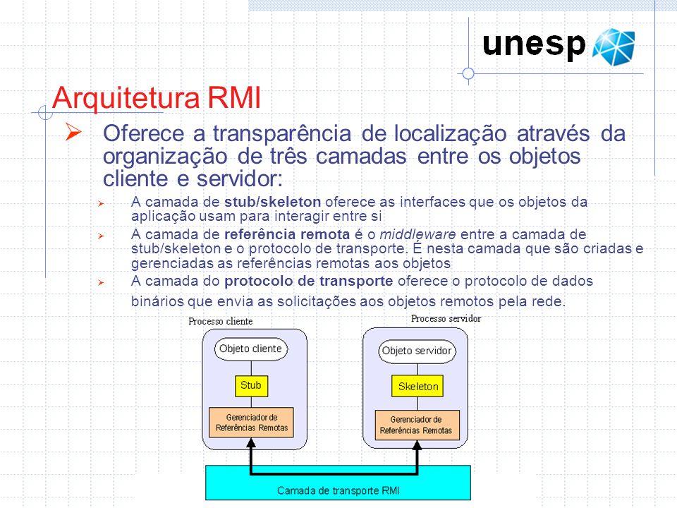 Arquitetura RMI Oferece a transparência de localização através da organização de três camadas entre os objetos cliente e servidor: