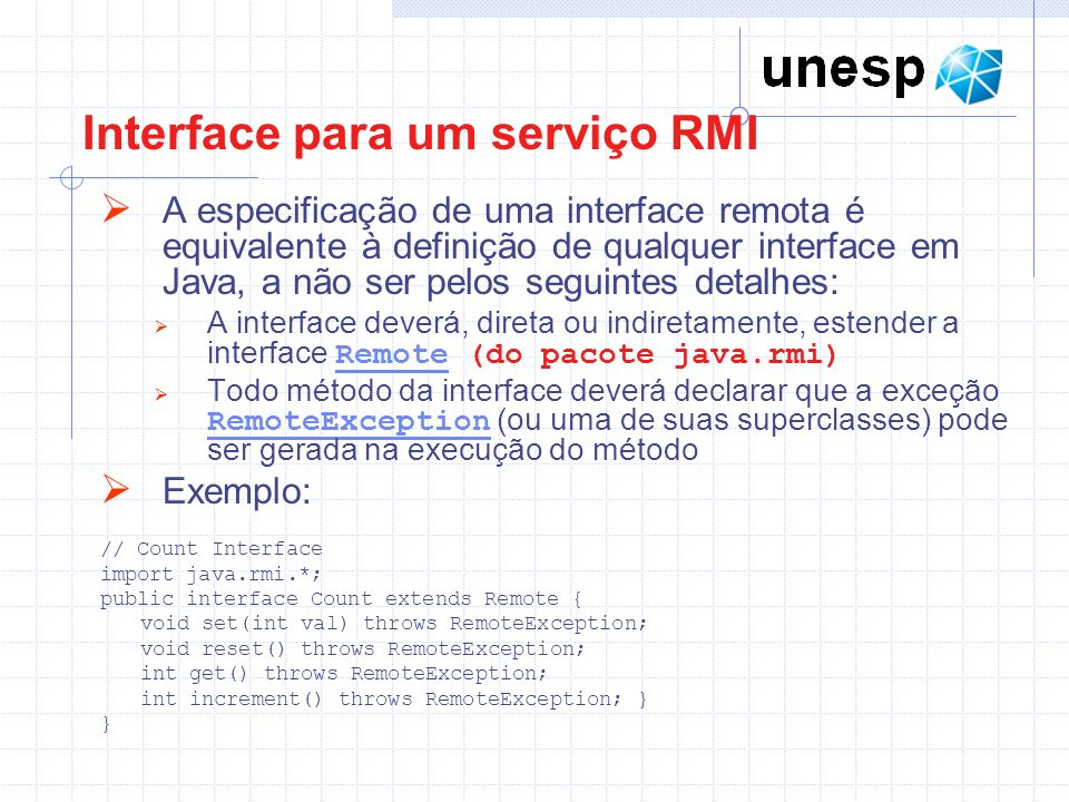 Interface para um serviço RMI