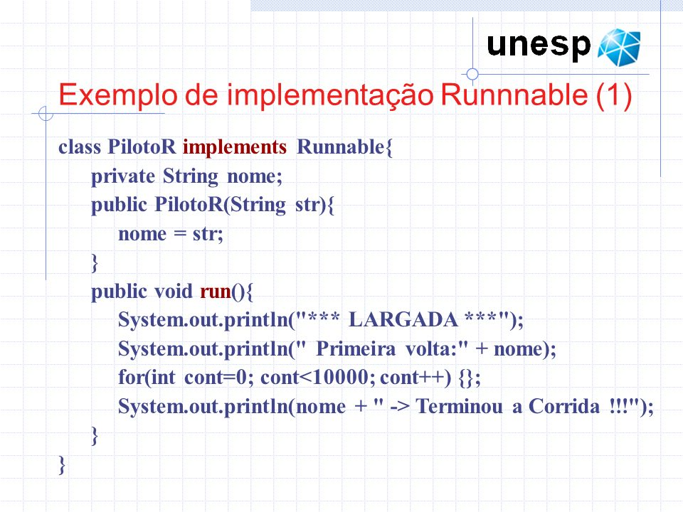 Exemplo de implementação Runnnable (1)