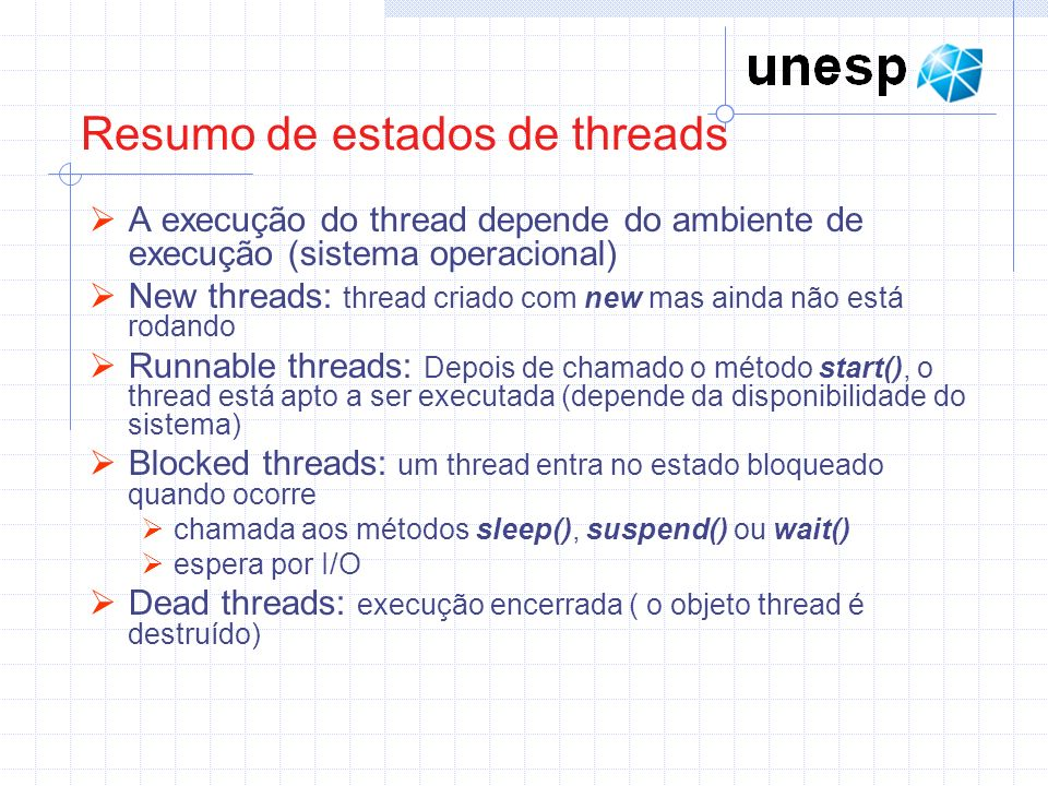Resumo de estados de threads