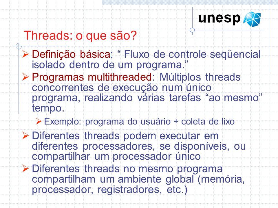 Threads: o que são Definição básica: Fluxo de controle seqüencial isolado dentro de um programa.