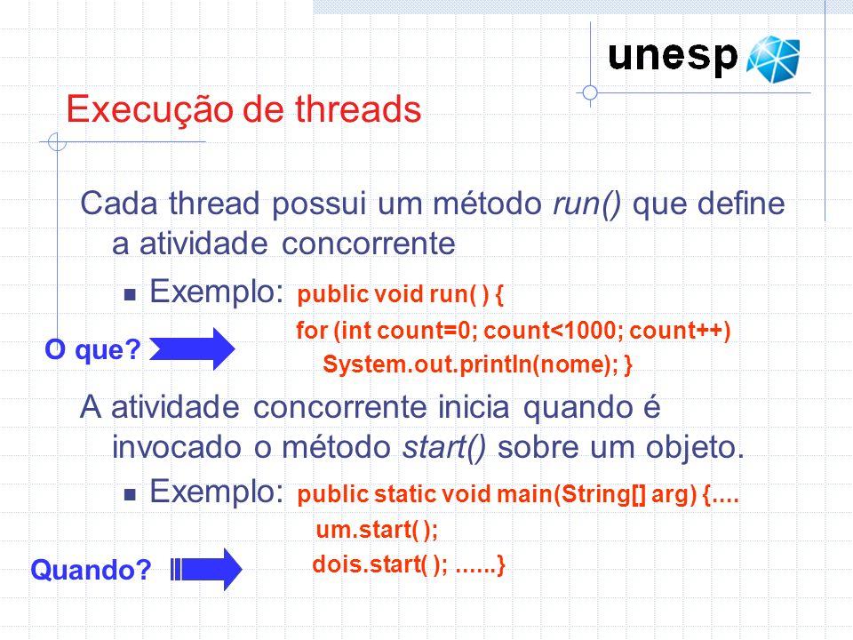 Execução de threads Cada thread possui um método run() que define a atividade concorrente. Exemplo: public void run( ) {
