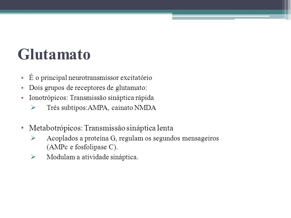 Glutamato Metabotrópicos: Transmissão sináptica lenta