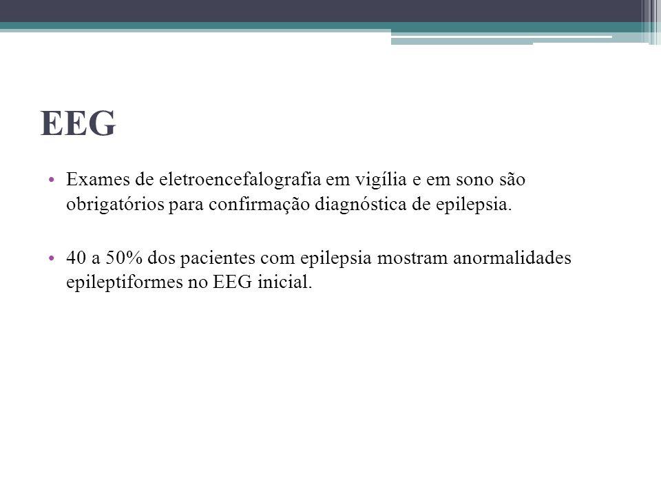EEG Exames de eletroencefalografia em vigília e em sono são obrigatórios para confirmação diagnóstica de epilepsia.