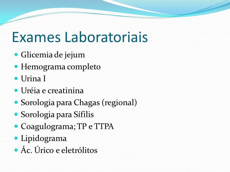 Exames Laboratoriais Glicemia de jejum Hemograma completo Urina I