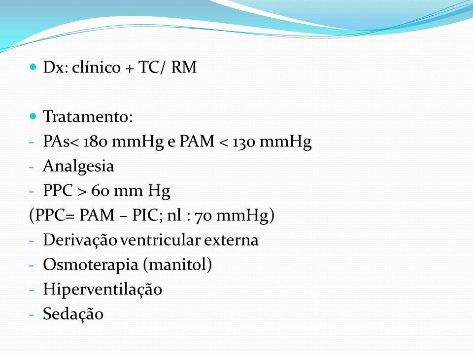Dx: clínico + TC/ RM Tratamento: PAs< 180 mmHg e PAM < 130 mmHg. Analgesia. PPC > 60 mm Hg. (PPC= PAM – PIC; nl : 70 mmHg)